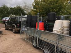Trailer, tubs and buckets up to the field the night before